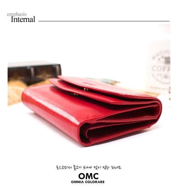 OMC - 原皮魅力真皮系列多卡零錢袋中夾 - 經典紅