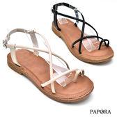 涼鞋.夾腳8字設計平底涼鞋【KK101】黑色 / 米色