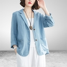 西裝外套 棉麻小西裝外套女夏季新款文藝薄款亞麻西服休閒短款襯衫上衣 星河光年