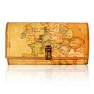 Alviero Martini 義大利地圖包-扣式六卡長夾-地圖黃