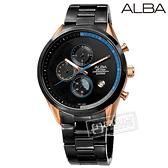 ALBA / VD57-X135KS.AM3594X1 / 情人限定款 藍寶石水晶玻璃 三眼計時 日期 不鏽鋼手錶 黑x玫瑰金框 43mm