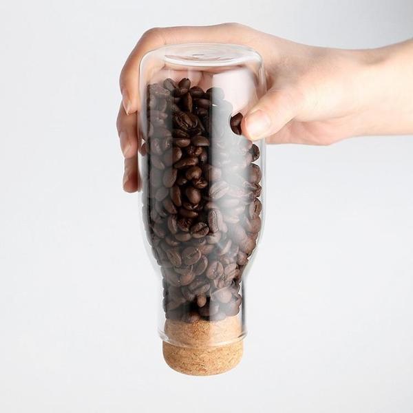 儲物罐 家用干果雜糧茶葉花茶瓶 軟木塞咖啡豆香料密封罐玻璃罐子 幸福第一站