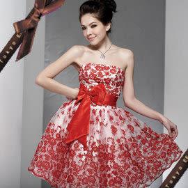 東京衣服 芭比娃娃 絲絨超澎裙平口蝴蝶結小禮服 紅色