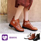 韓系時尚簡約環扣設計圓頭方跟短靴/3色/35-43碼 (RX1234-Z8-7) iRurus 路絲時尚
