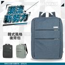 《熊熊先生》大容量後背包 15吋韓風電腦包肩背包 多隔層戶外休閒包公事包 鋁製提把平板筆電包