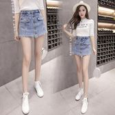 2018高腰牛仔裙毛邊半身裙裙顯瘦短裙
