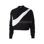 Nike 長袖T恤 NSW Swoosh Fleece Crew 黑 白 女款 復古 大勾勾 【PUMP306】 BV3934-011