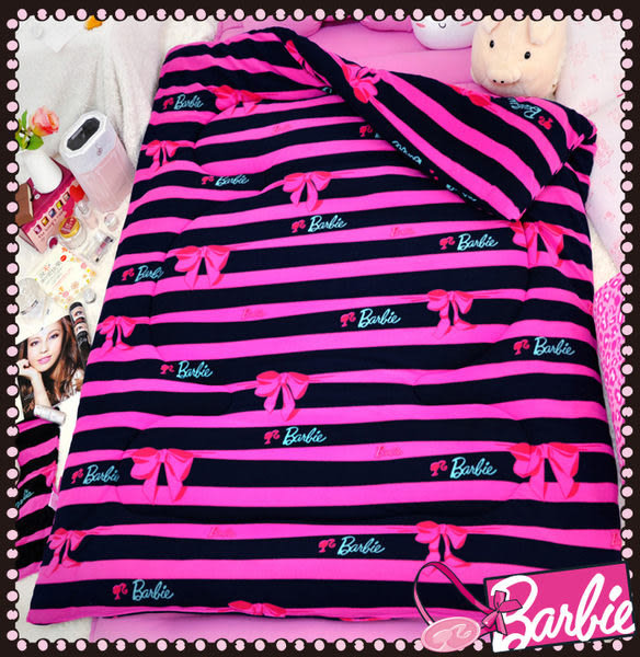 【Barbie】蝴蝶結物語-雪芙絨時尚冬被《Ribbon Bow《星空黑》》