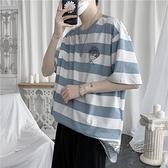 夏季條紋短袖t恤男寬鬆潮流簡筆畫半袖上衣男生小清新休閒打底衫 618促銷
