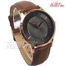 RELAX TIME Classic 經典系列 立體波紋簡約俐落男錶 真皮手錶 防水手錶 玫瑰金X灰X咖 RT-88-2M