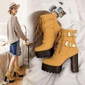 丁果、大尺碼女鞋34-44►扣帶環繫帶超高跟芭比靴短靴子*4色