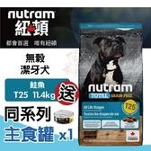 【送同系列主食罐*1】*WANG*紐頓nutram 無穀全能 T25 潔牙犬 鮭魚配方 11.4kg/包 犬飼料
