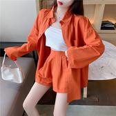 依米迦 休閒運動套裝 寬鬆長袖防曬襯衫+闊腿裙褲 兩件套 白色套裝