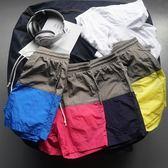 沙灘褲男裝夏季休閒寬鬆直筒五分沙灘褲短褲抽繩拼接速干鬆緊運動潮【618又一發好康八折】