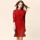 蕾絲洋裝-包臀魚尾裙釘珠修身七分袖連身裙3色72f4【巴黎精品】