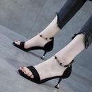 一字帶女時裝涼鞋黑色2021夏季新款中跟百搭性感高跟鞋女細跟5cm