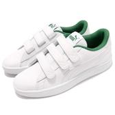 Puma 休閒鞋 Smash V2 V 白 綠 魔鬼氈 基本款 皮革 運動鞋 男鞋 女鞋【ACS】 36691001