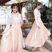 漢服女改良中國風古裝女仙女飄逸清新淡雅襦裙學生古風日常裝套裝古裝 伊人閣