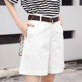 夏季新款韓版高腰顯瘦寬鬆闊腿褲女休閒百搭五分西裝短褲熱褲   芊惠衣屋