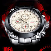 手錶 夜光日歷錶 防水鋼帶腕錶 石英商務錶【非凡商品】w37