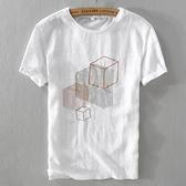 亞麻T恤-棉麻幾何圖形刺繡短袖男上衣73xf14【巴黎精品】