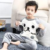 兒童睡衣 男童睡衣秋冬兒童法蘭絨加絨加厚套裝中大童女童家居服寶寶珊瑚絨 雙11購物節