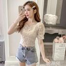 泡泡袖上衣 蕾絲衫女夏季新款法式方領泡泡袖鎖骨短袖白色短款雪紡上衣 韓菲兒