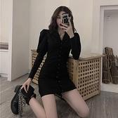 西裝連身裙設計感復古泡泡袖西裝領連身裙女裝秋季2021新款短裙黑色長袖裙子 雲朵走走