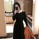 複古大擺高腰小黑裙長袖一字領中長版收腰蓬蓬裙內搭連身裙女