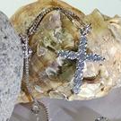 S925精美火光鋯石十字架附925純銀方格鍊鎖骨鍊