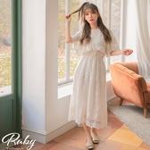 洋裝 RCha。韓‧傘袖荷葉蕾絲短袖長洋裝-Ruby s 露比午茶