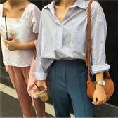春裝女裝韓版簡約百搭寬鬆學生翻領排扣襯衫長袖口袋條紋襯衣上衣