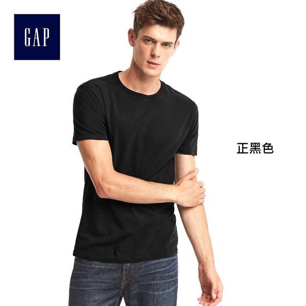 Gap男裝 純棉寬鬆短袖T恤 基本款柔軟彈力男士內搭上衣 768620-正黑色