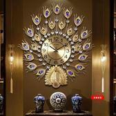孔雀掛鐘客廳歐式鐘錶創意壁鐘家用靜音時鐘電子鐘jy裝飾掛錶石英鐘【年貨好貨節免運費】