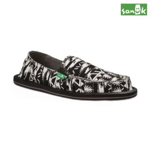 SANUK 經典編織圖騰懶人鞋-女款SWF1002 BWHT(黑白色)