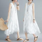 胖仙女大碼洋裝 女裝蕾絲連衣裙女新款夏裝寬鬆無袖背心打底長裙子 中秋降價