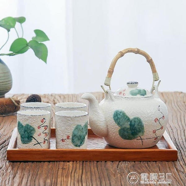 日式茶具套裝家用創意茶盤和風下午茶壺手繪釉下彩陶瓷提梁壺主圖款  聖誕節免運