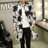 風潮流韓版中長款風衣男修身薄款外套披風青年非主流大衣 潮男街