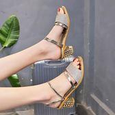 涼鞋女夏季外穿2019新款新款小清新中跟時尚韓版兩穿涼拖鞋高跟女鞋子【免運 快速出貨】