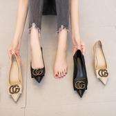 高跟鞋女細跟秋款潮鞋百搭黑色尖頭貓跟6CM秋鞋單鞋中跟 伊莎gz