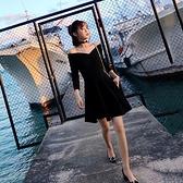 中袖洋装 大碼女裝秋季新款中袖胖MM減齡一字肩顯瘦小心機性感洋裝女潮 Korea時尚記