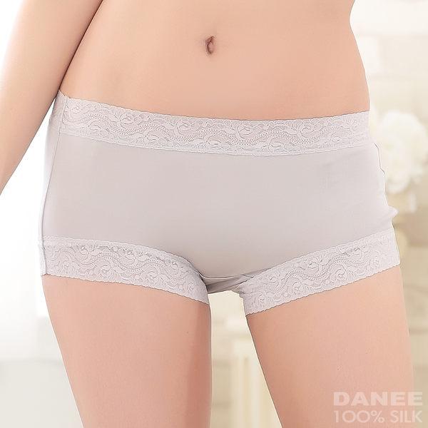 【岱妮蠶絲】AA2309E-L純蠶絲42針70G古典美蕾絲中高腰平口內褲(銀灰)