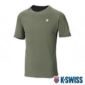 K-SWISS Reflective Logo Tee W/Mesh排汗T恤-男-橄欖綠