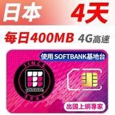 【TPHONE上網專家】日本 SOFTBANK 高速上網卡 4天無限上網 每天前面400MB 支援4G高速