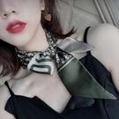 纏包帶絲巾小長條字母韓國小領巾氣質小絲巾發帶兩用百搭真絲裝飾 時尚芭莎