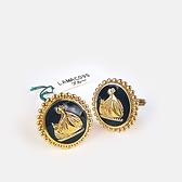 LANVIN古典LOGO金屬袖扣(金色)880062-06