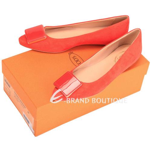 TOD'S 方塊造型麂皮尖頭平底鞋(橘紅色) 1420241-73