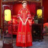 女敬酒服短袖結婚龍鳳褂薄款中式婚紗禮服igo 晴天時尚館