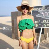 泳裝 比基尼 泳衣 撞色多層抓皺低腰露腰繞頸泳裝【SF2602】 BOBI  08/04