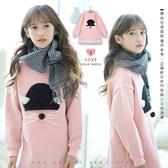 中大童 俏皮帽子老鼠口袋蕾絲長版上衣 毛圈布 縮口 可愛 毛球 女大童 粉色 洋裝 哎北比童裝